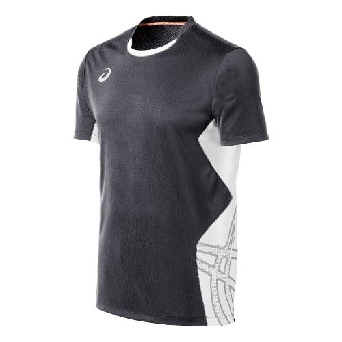Mens ASICS Team Performance VB Short Sleeve Technical Tops - Steel Grey/White M