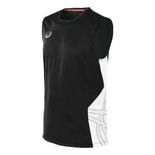 Mens ASICS Team Performance VB Sleeveless Technical Tops - Black/White S