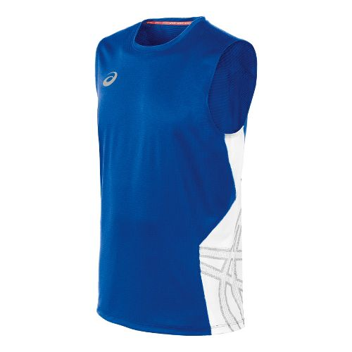 Mens ASICS Team Performance VB Sleeveless Technical Tops - Royal/White XL