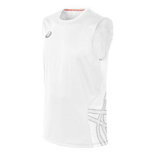 Mens ASICS Team Performance VB Sleeveless Technical Tops - White/White M