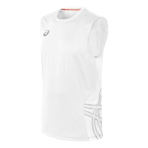 Mens ASICS Team Performance VB Sleeveless Technical Tops - White/White XL