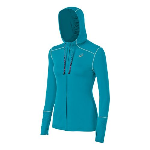 Womens ASICS Thermopolis LT Warm-Up Hooded Jackets - Bondi Blue XS