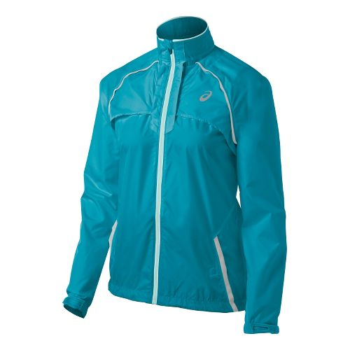 Womens ASICS 2-N-1 Running Jackets - Bondi Blue/Crystal M