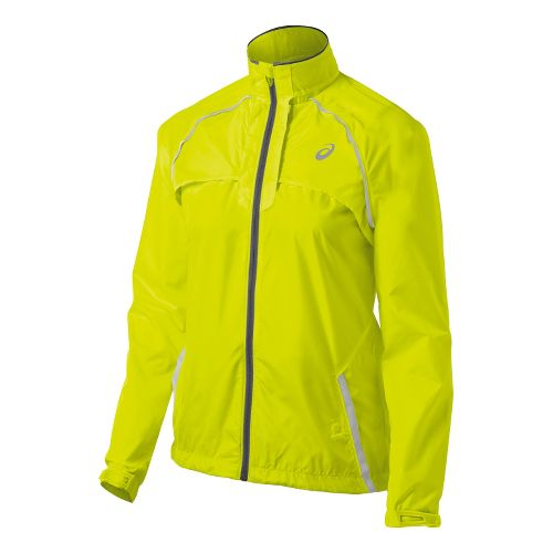 Womens ASICS 2-N-1 Running Jackets - Electric Lime S