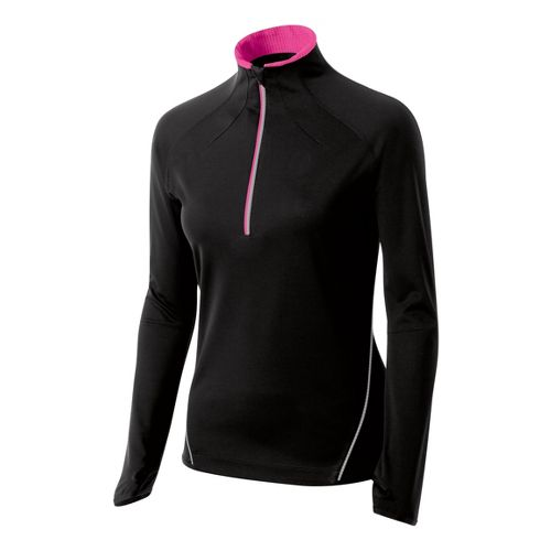 Womens ASICS Speed Softshell Long Sleeve 1/2 Zip Technical Tops - Performance Black L