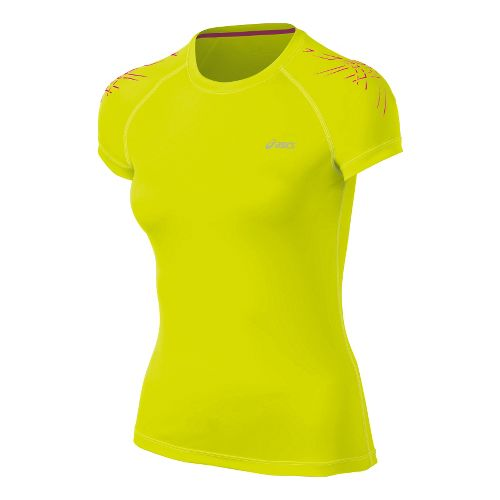 Womens ASICS Tiger Short Sleeve Technical Tops - Electric Lime XL