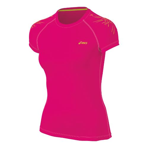Womens ASICS Tiger Short Sleeve Technical Tops - Magenta M