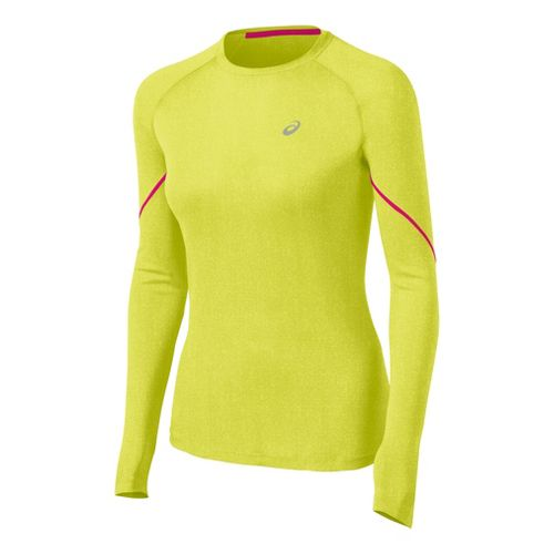 Womens ASICS Speed Winter Layer Long Sleeve No Zip Technical Tops - Electric Lime Heather ...