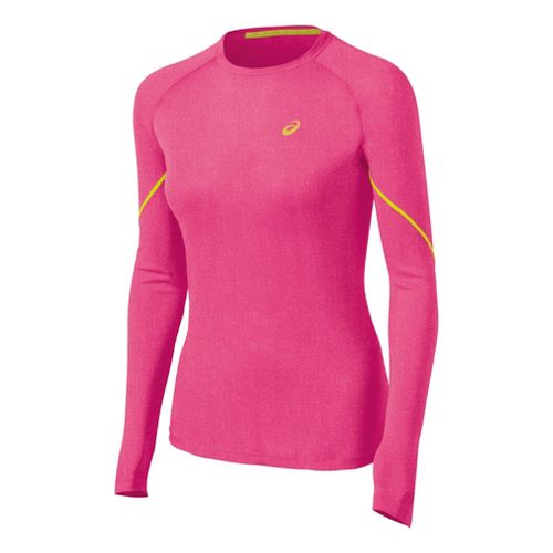 Womens ASICS Speed Winter Layer Long Sleeve No Zip Technical Tops - Magenta Heather L ...