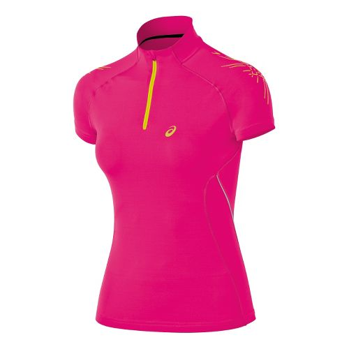 Womens ASICS Speed Inner Muscle 1/2 Zip Short Sleeve Technical Tops - Magenta XL