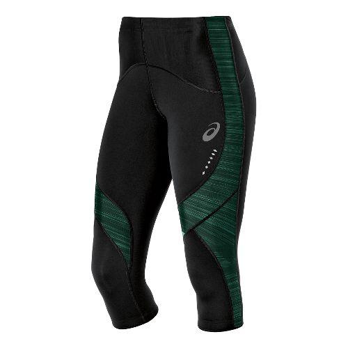 Womens ASICS Leg Balance Knee Capri Tights - Black/Aqua Mint S