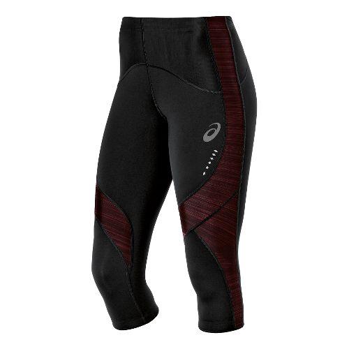 Womens ASICS Leg Balance Knee Capri Tights - Black/Deep Ruby XL