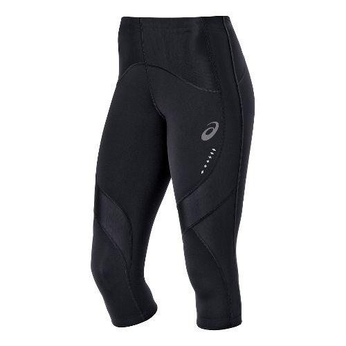Womens ASICS Leg Balance Knee Capri Tights - Black/Black M