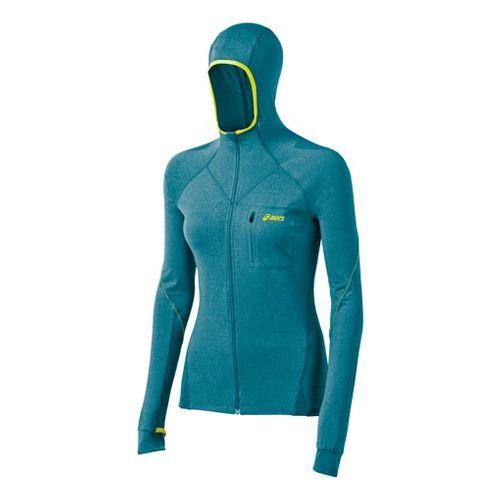 Womens ASICS FujiTrail Hoodie Warm-Up Hooded Jackets - Arctic Aqua Heather S