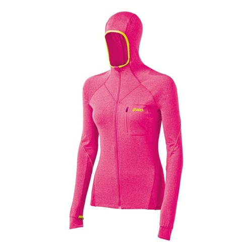 Womens ASICS FujiTrail Hoodie Warm-Up Hooded Jackets - Magenta Heather L