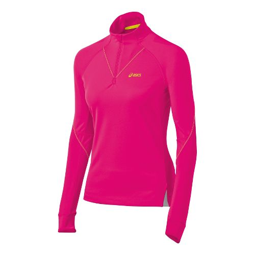 Womens ASICS FujiTrail Long Sleeve 1/2 Zip Technical Tops - Magenta L