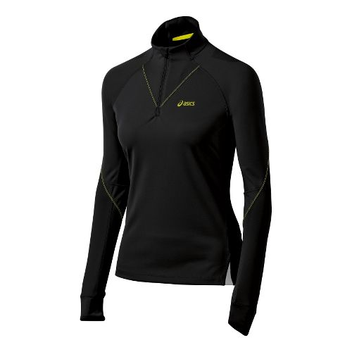 Womens ASICS FujiTrail Long Sleeve 1/2 Zip Technical Tops - Performance Black XL