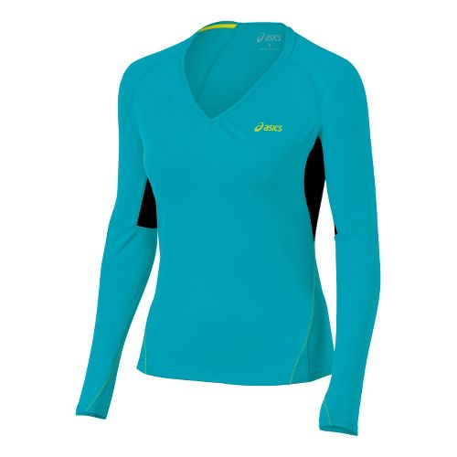 Womens ASICS FujiTrail Long Sleeve Top Technical Tops - Arctic Aqua XS