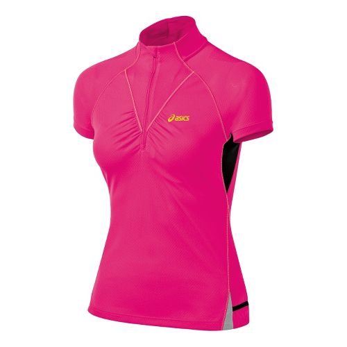 Womens ASICS FujiTrail 1/2 Zip Short Sleeve Technical Tops - Magenta L