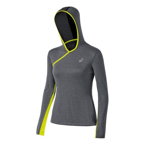 Womens ASICS PR Warm-Up Hooded Jackets - Heather Iron/Electric Lime XL
