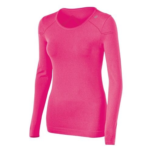 Womens ASICS ASX Seamless Long Sleeve No Zip Technical Tops - Magenta Heather XL