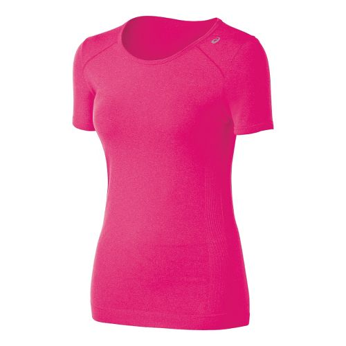 Womens ASICS ASX Seamless Short Sleeve Technical Tops - Magenta Heather L