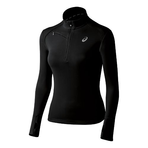 Womens ASICS Favorite Long Sleeve 1/2 Zip Technical Tops - Black L