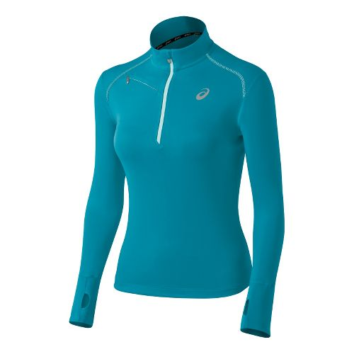 Womens ASICS Favorite Long Sleeve 1/2 Zip Technical Tops - Bondi Blue/Crystal XS