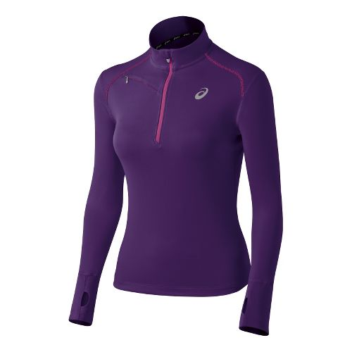 Womens ASICS Favorite Long Sleeve 1/2 Zip Technical Tops - Berry Wild Aster XS
