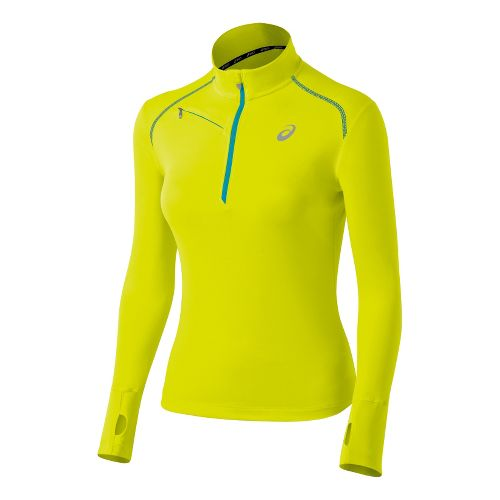 Womens ASICS Favorite Long Sleeve 1/2 Zip Technical Tops - Electric Lime/Bondi Blue S