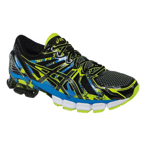 Mens ASICS GEL-Sendai 2 Running Shoe - Black/Flash Yellow 11.5