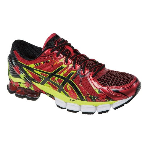 Mens ASICS GEL-Sendai 2 Running Shoe - High Risk Red/Flash Green 10.5