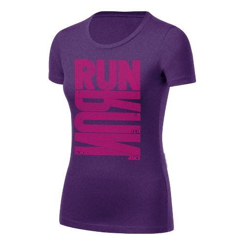 Womens ASICS Run Tech Tee Short Sleeve Technical Tops - Berry Heather XL