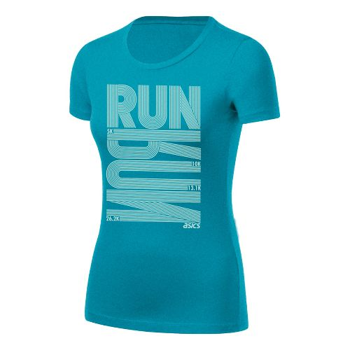 Womens ASICS Run Tech Tee Short Sleeve Technical Tops - Bondi Heather S