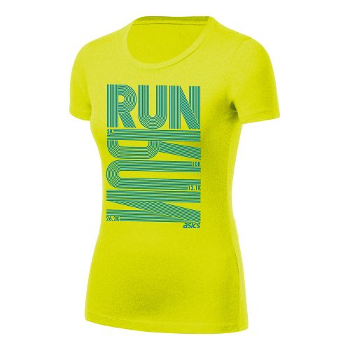 Womens ASICS Run Tech Tee Short Sleeve Technical Tops - Electric Lime XL