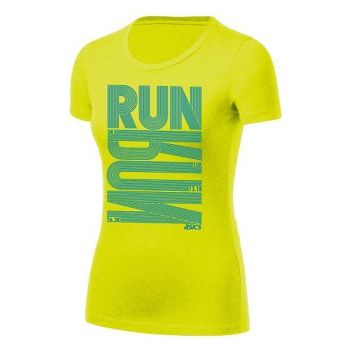 Womens ASICS Run Tech Tee Short Sleeve Technical Tops - Electric Lime XS