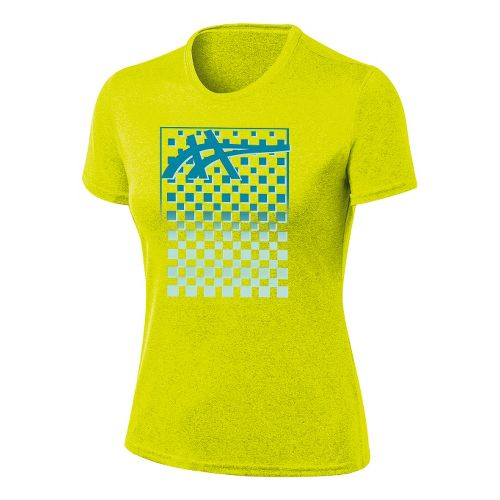 Womens ASICS Checkmate Tech Tee Short Sleeve Technical Tops - Electric Lime M