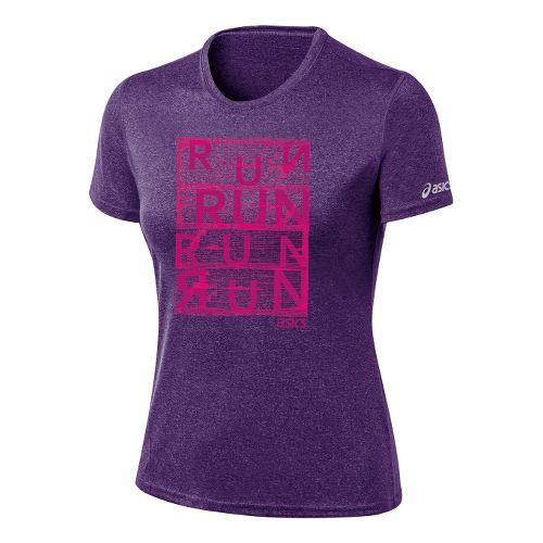 Womens ASICS Urban Run Tee Technical Tops - Berry Heather L