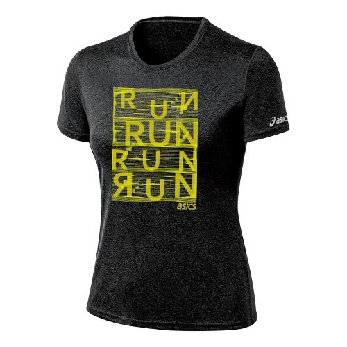 Womens ASICS Urban Run Tee Technical Tops - Black Heather L