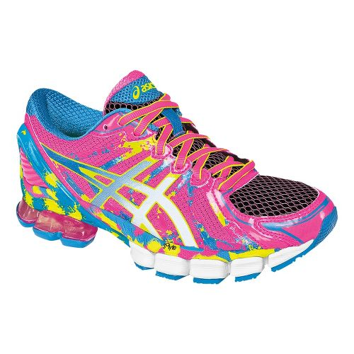 Womens ASICS GEL-Sendai 2 Running Shoe - Hot Pink/Flash Yellow 11.5