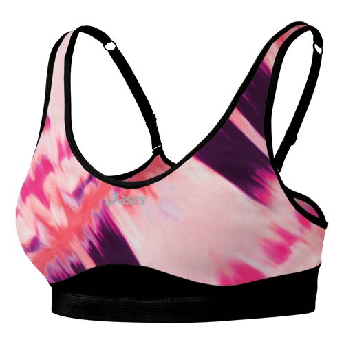 Womens ASICS Adjust Sports Bras - Coral Abstract Print XL