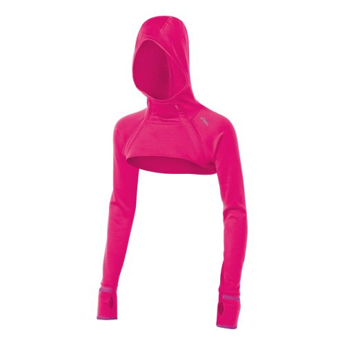 Womens ASICS Illusion Hood Shrug Warm-Up Hooded Jackets - Magenta XS