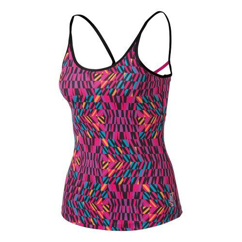 Womens ASICS Illusion Print Tank Sport Top Bras - Magenta Print L