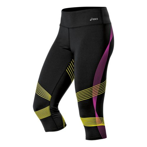 Womens ASICS Illusion Capri Tights - Electric Lime/Neon Purple S