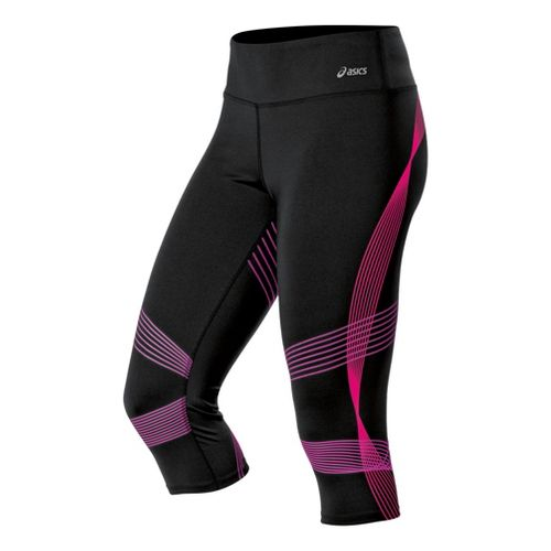 Womens ASICS Illusion Capri Tights - Magenta/Neon Purple L