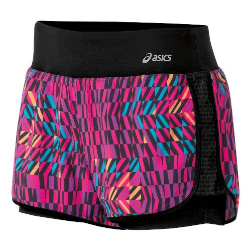 Womens ASICS Illusion 2-in-1 Shorts - Magenta Print XL