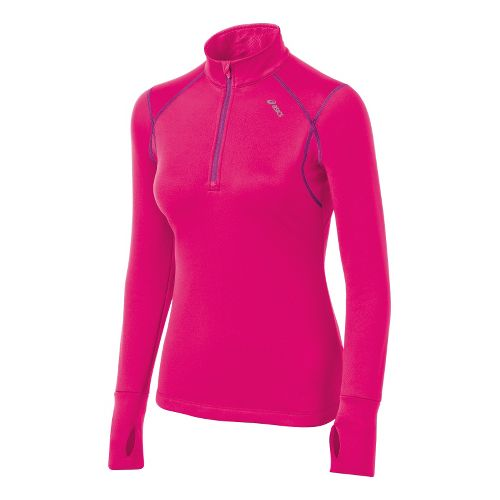 Womens ASICS Illusion Long Sleeve 1/2 Zip Technical Tops - Magenta L