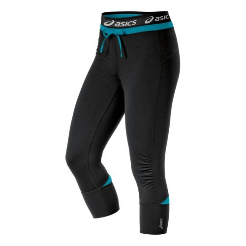 Womens ASICS Abby Cuff Capri Tights - Bondi Blue S