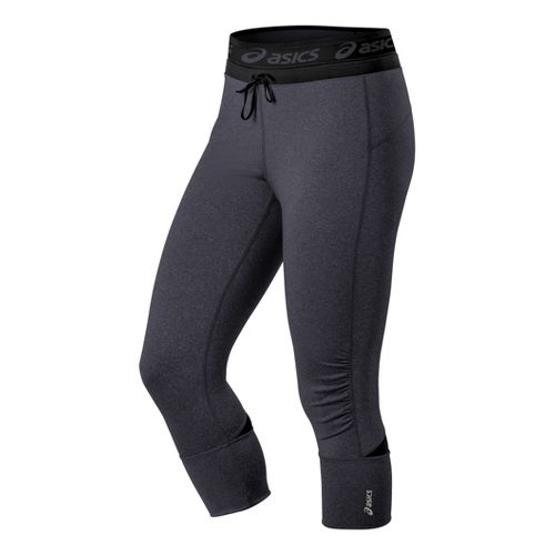 Womens ASICS Abby Cuff Capri Tights - Heather Iron XL