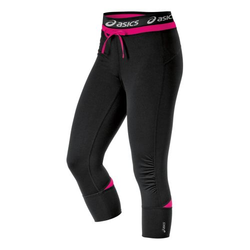 Womens ASICS Abby Cuff Capri Tights - Magenta L